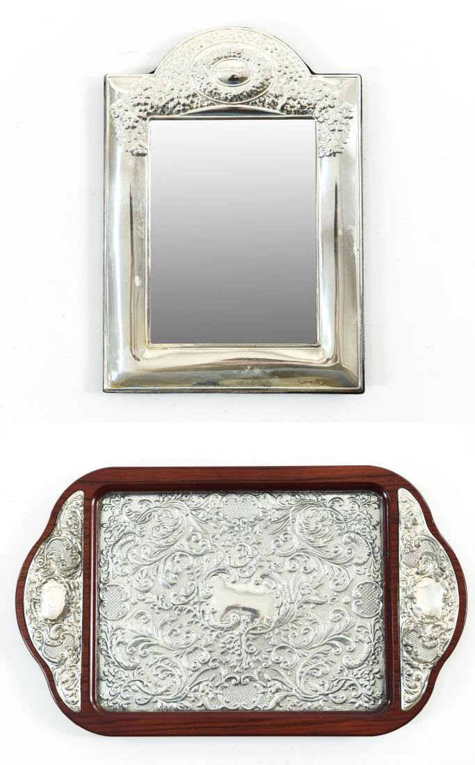 SILVER TRAY AND SILVER MIRROR