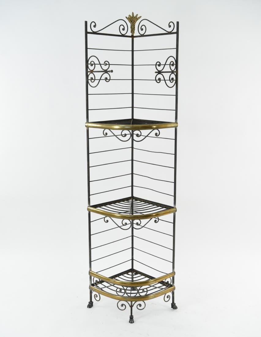 IRON AND BRASS BAKERS RACK CORNER ETAGERE