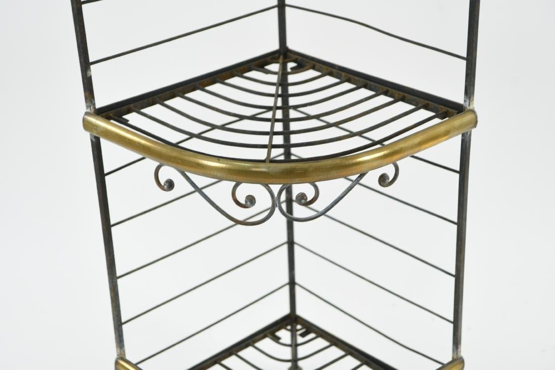 IRON AND BRASS BAKERS RACK CORNER ETAGERE - 3