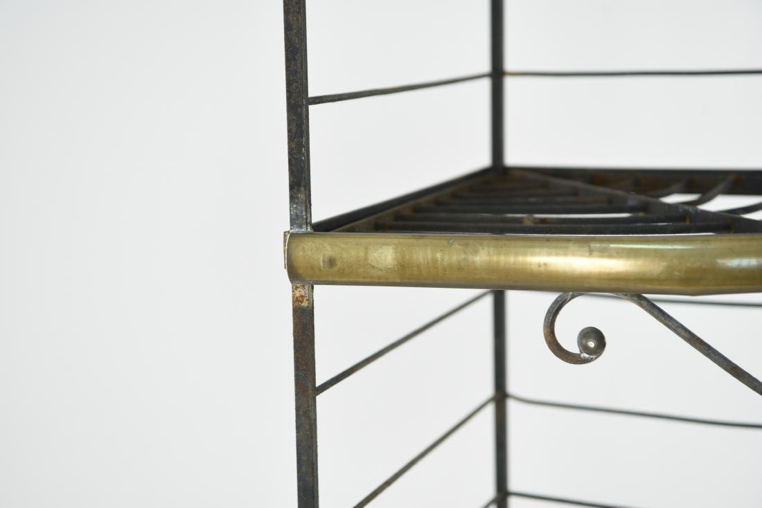 IRON AND BRASS BAKERS RACK CORNER ETAGERE - 7