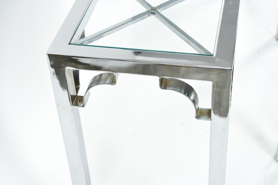 CHROME & GLASS CONSOLE & SIDE TABLE - 10