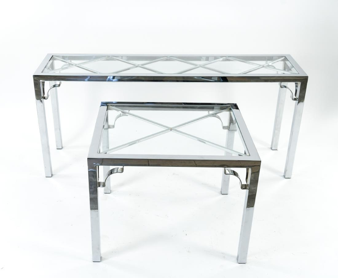 CHROME & GLASS CONSOLE & SIDE TABLE