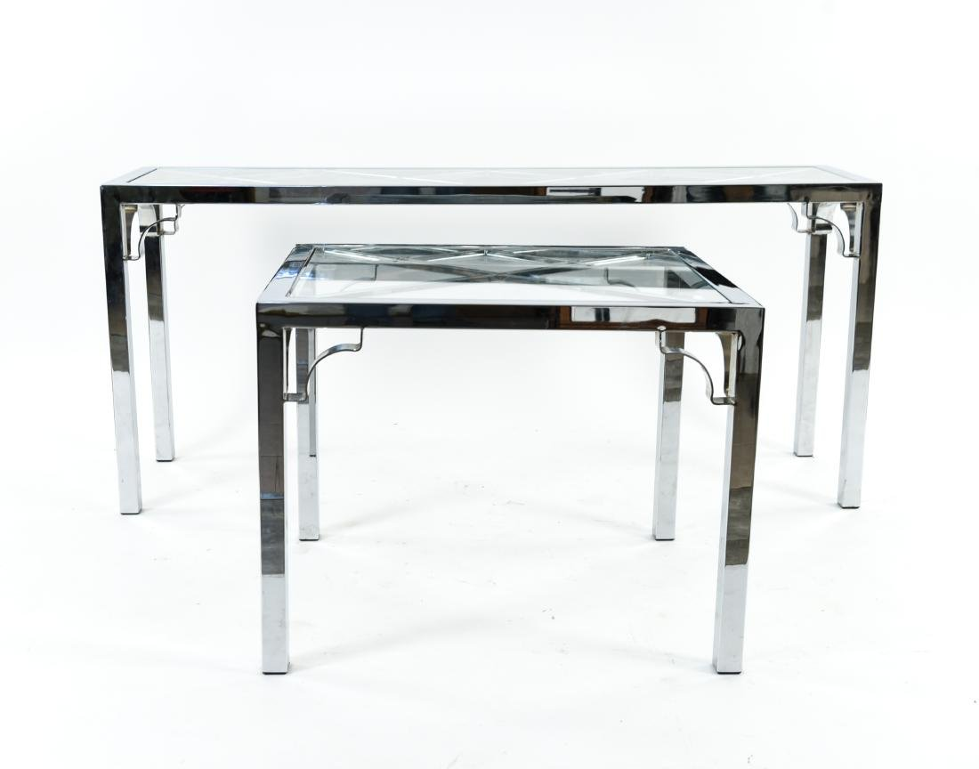 CHROME & GLASS CONSOLE & SIDE TABLE - 2