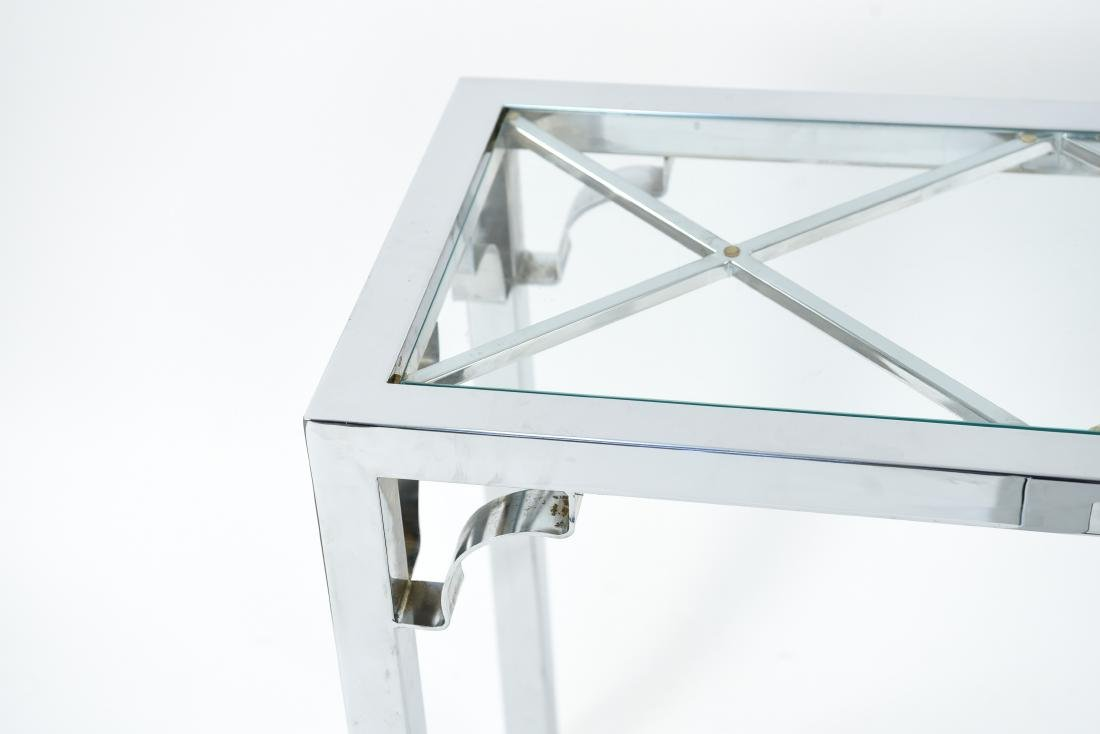 CHROME & GLASS CONSOLE & SIDE TABLE - 6