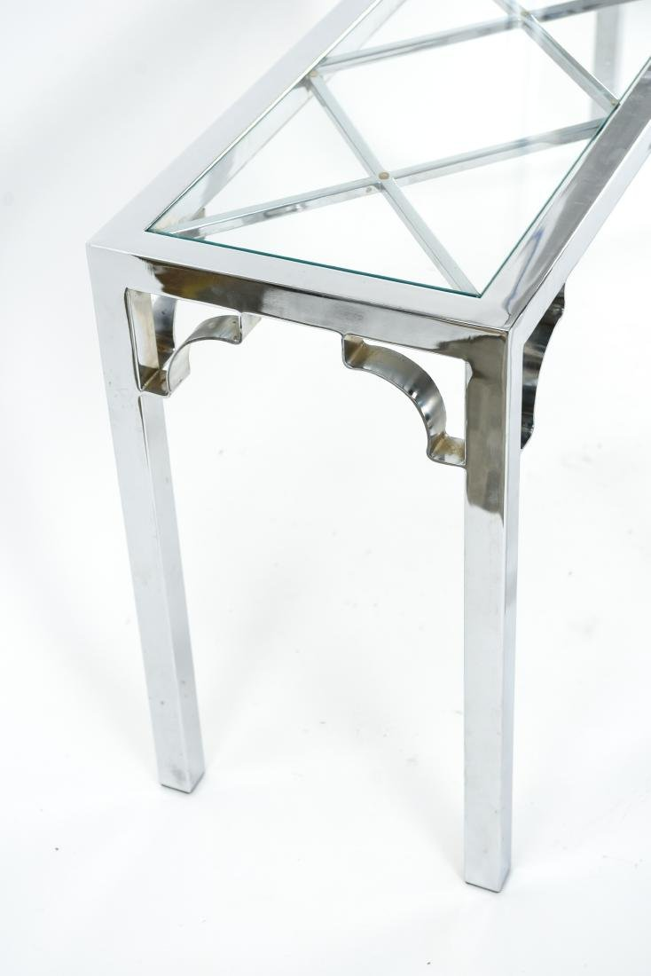 CHROME & GLASS CONSOLE & SIDE TABLE - 8