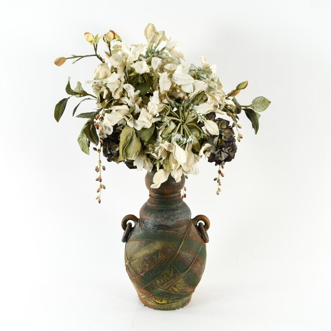 CERAMIC VASE WITH FAUX FLOWERS
