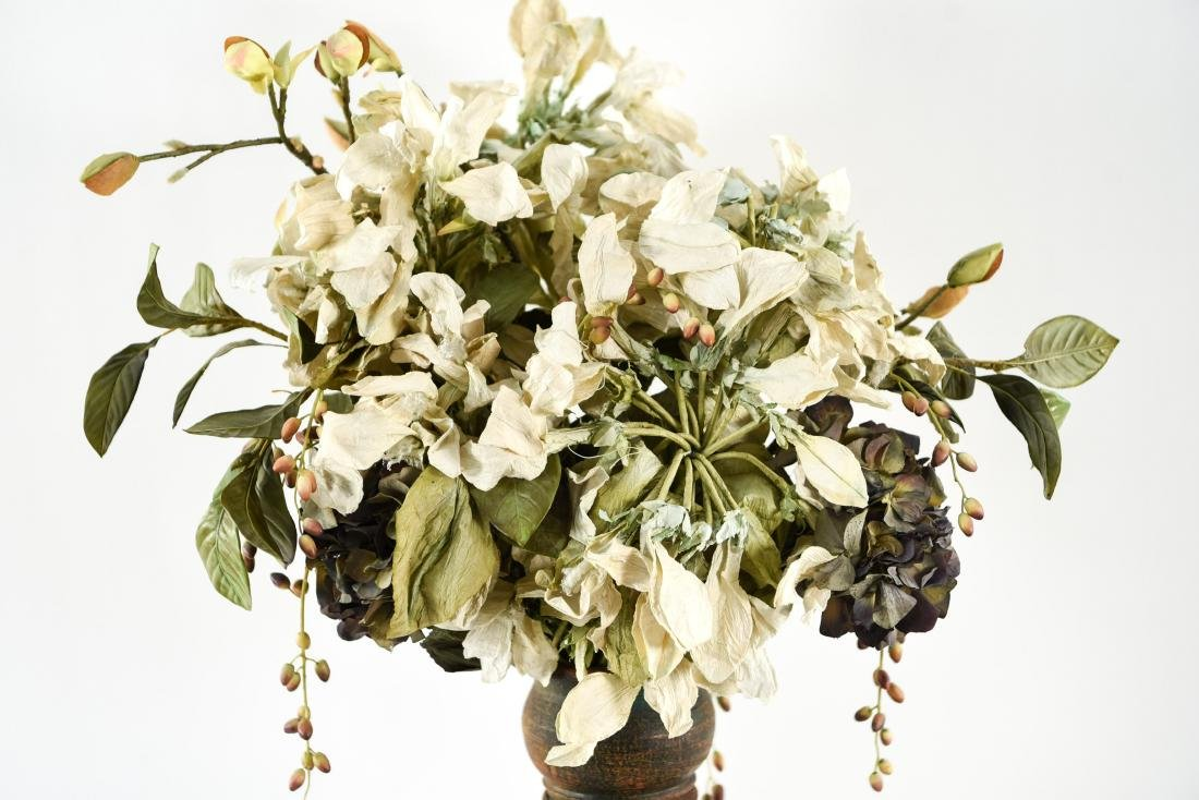 CERAMIC VASE WITH FAUX FLOWERS - 2