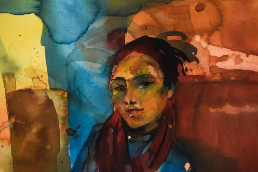 MODERN WATERCOLOR OF SEATED WOMAN - 2