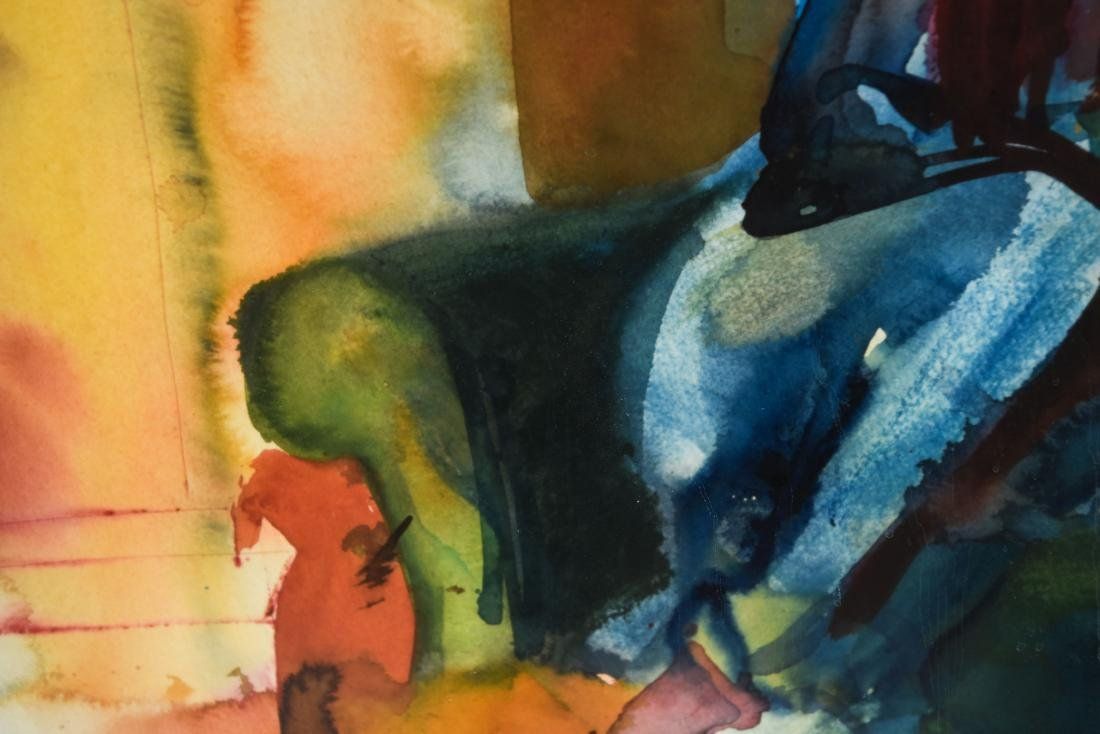 MODERN WATERCOLOR OF SEATED WOMAN - 4