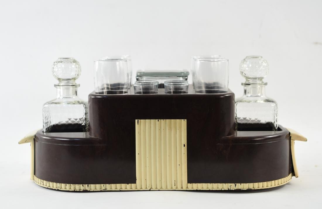 VINTAGE ART DECO LIQUOR DECANTER DRINK CADDY - 3