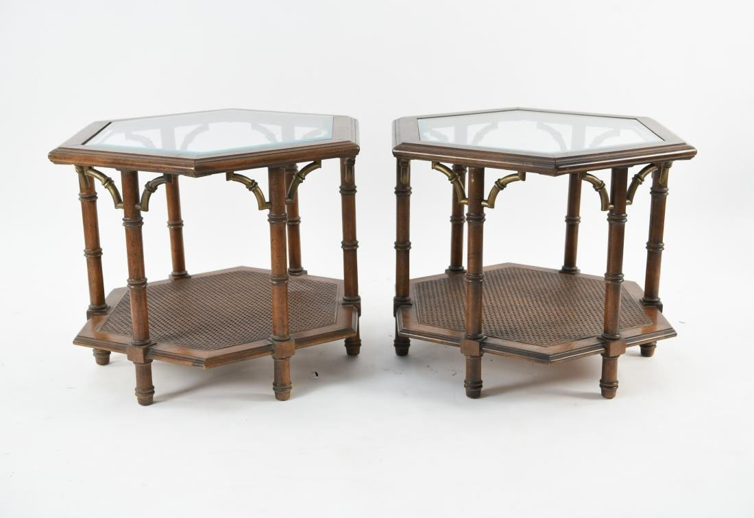 PAIR OF MODERN FAUX BAMBOO STYLE END TABLES