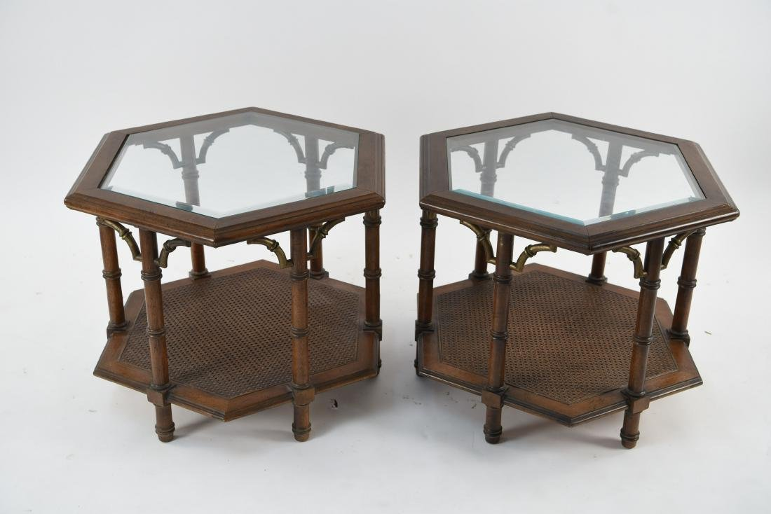 PAIR OF MODERN FAUX BAMBOO STYLE END TABLES - 2