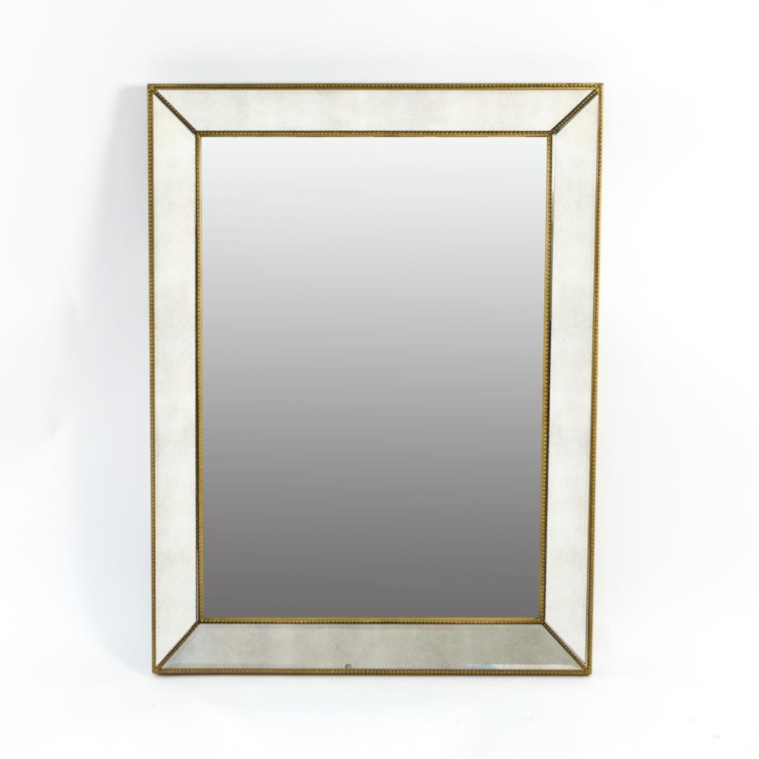 CONTEMPORARY BEVELED GLASS & FAUX GILT MIRROR