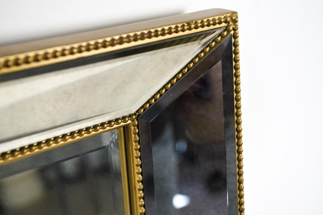 CONTEMPORARY BEVELED GLASS & FAUX GILT MIRROR - 4