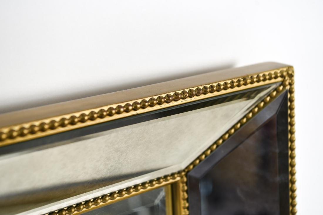 CONTEMPORARY BEVELED GLASS & FAUX GILT MIRROR - 5