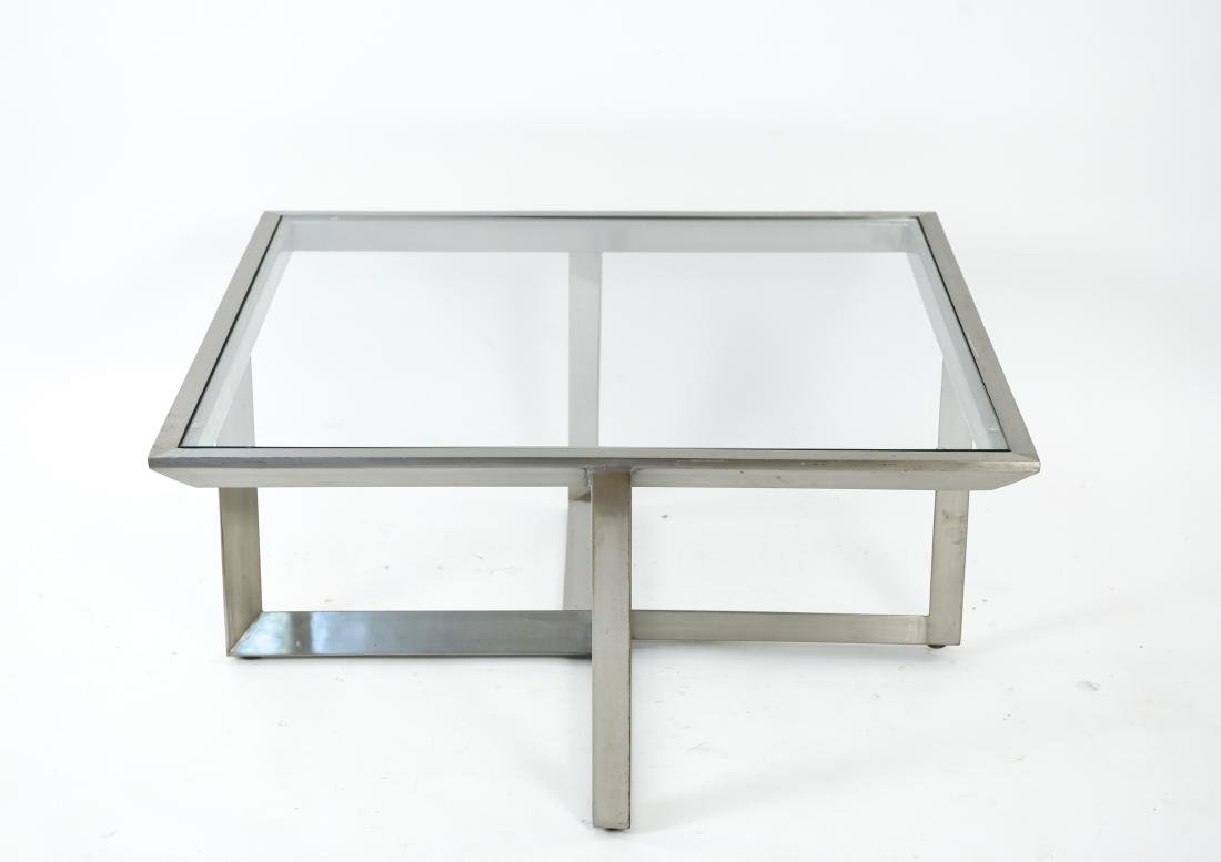 CONTEMPORARY BRUSHED METAL & GLASS COFFEE TABLE