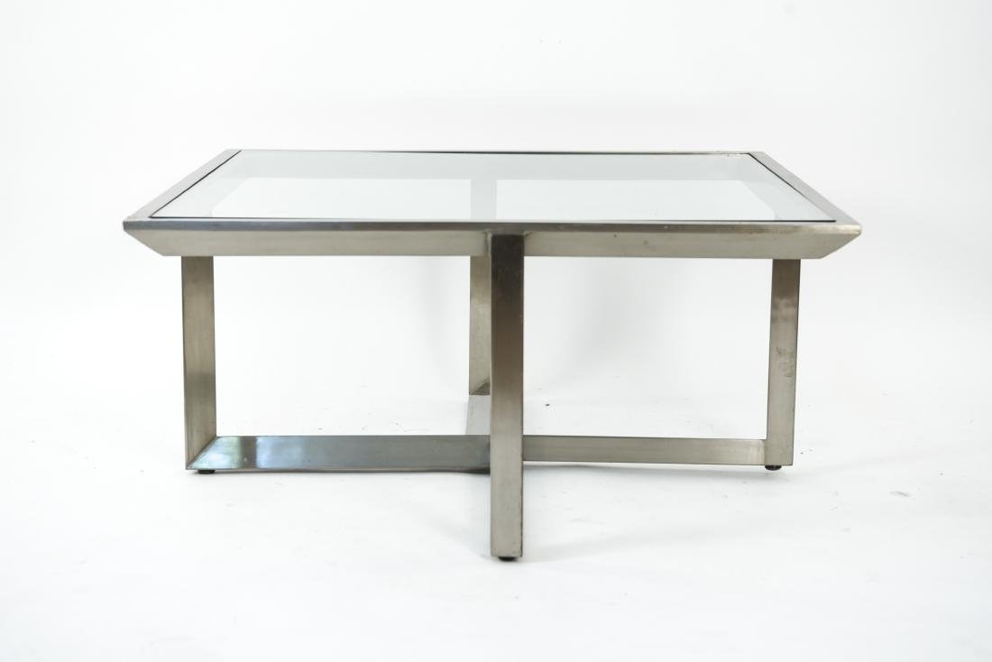 CONTEMPORARY BRUSHED METAL & GLASS COFFEE TABLE - 2