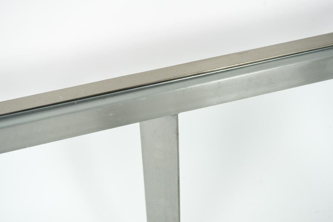 CONTEMPORARY BRUSHED METAL & GLASS COFFEE TABLE - 7