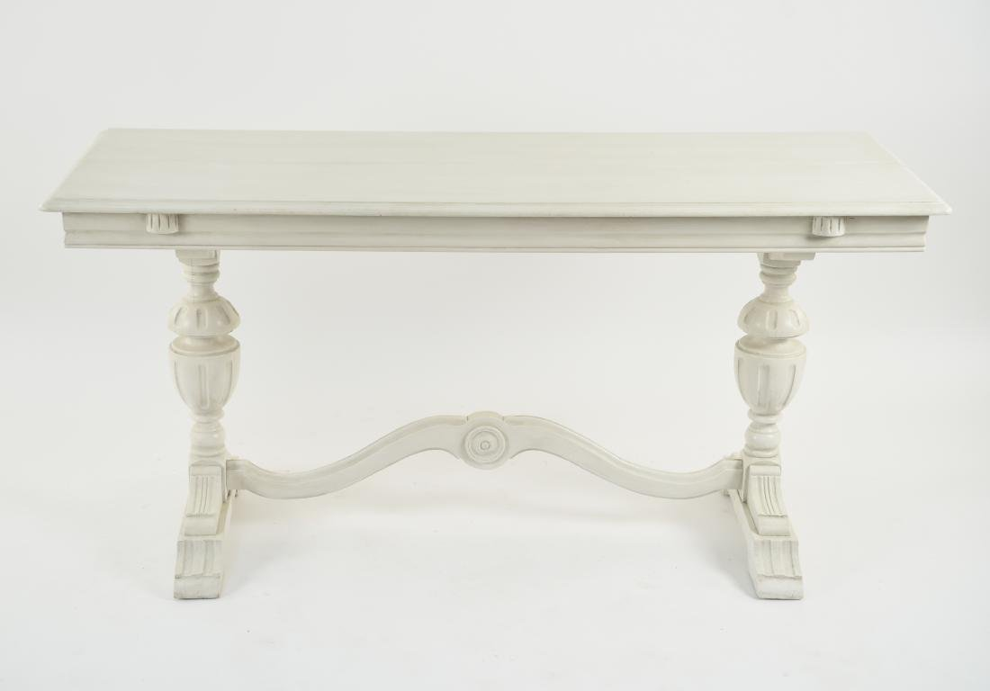WHITE PAINTED TRESTLE TABLE