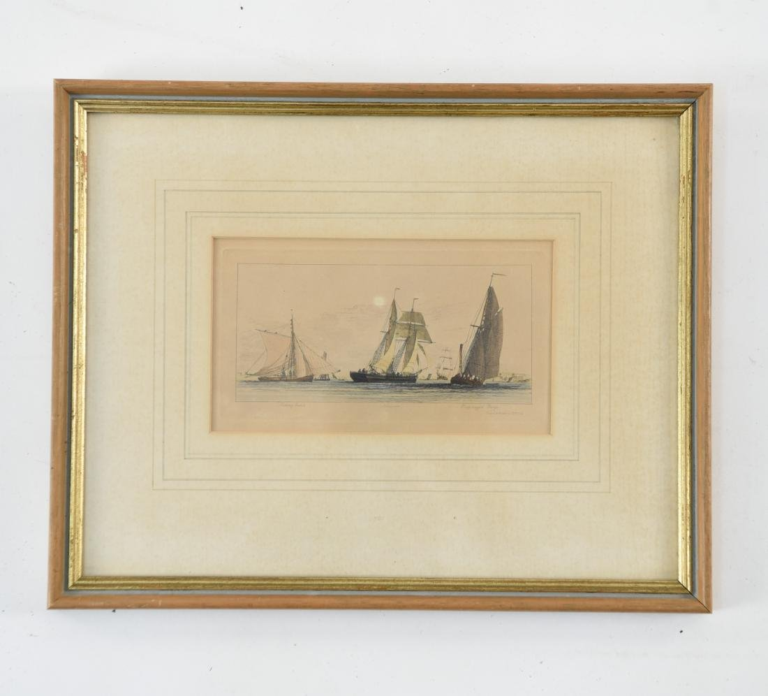 19TH C. HAND COLORED ENGRAVING OF SHIPS