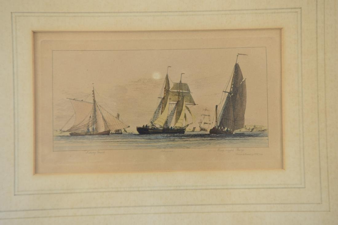 19TH C. HAND COLORED ENGRAVING OF SHIPS - 2