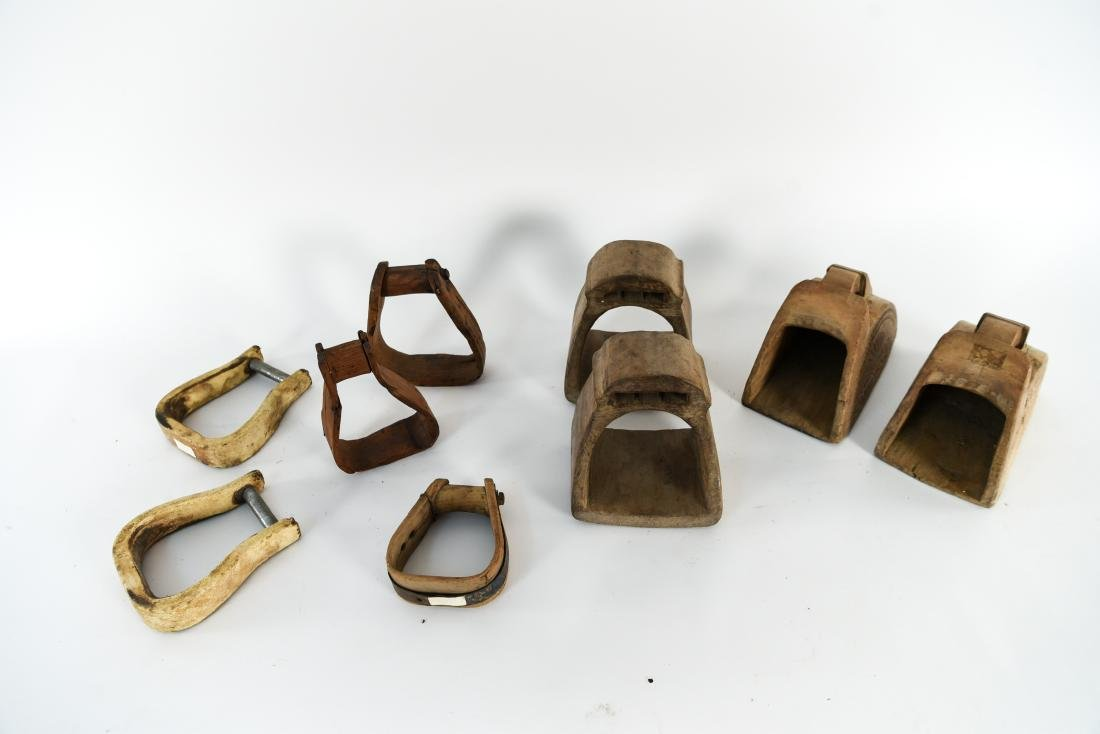 GROUPING OF ANTIQUE AND VINTAGE WOODEN STIRRUPS