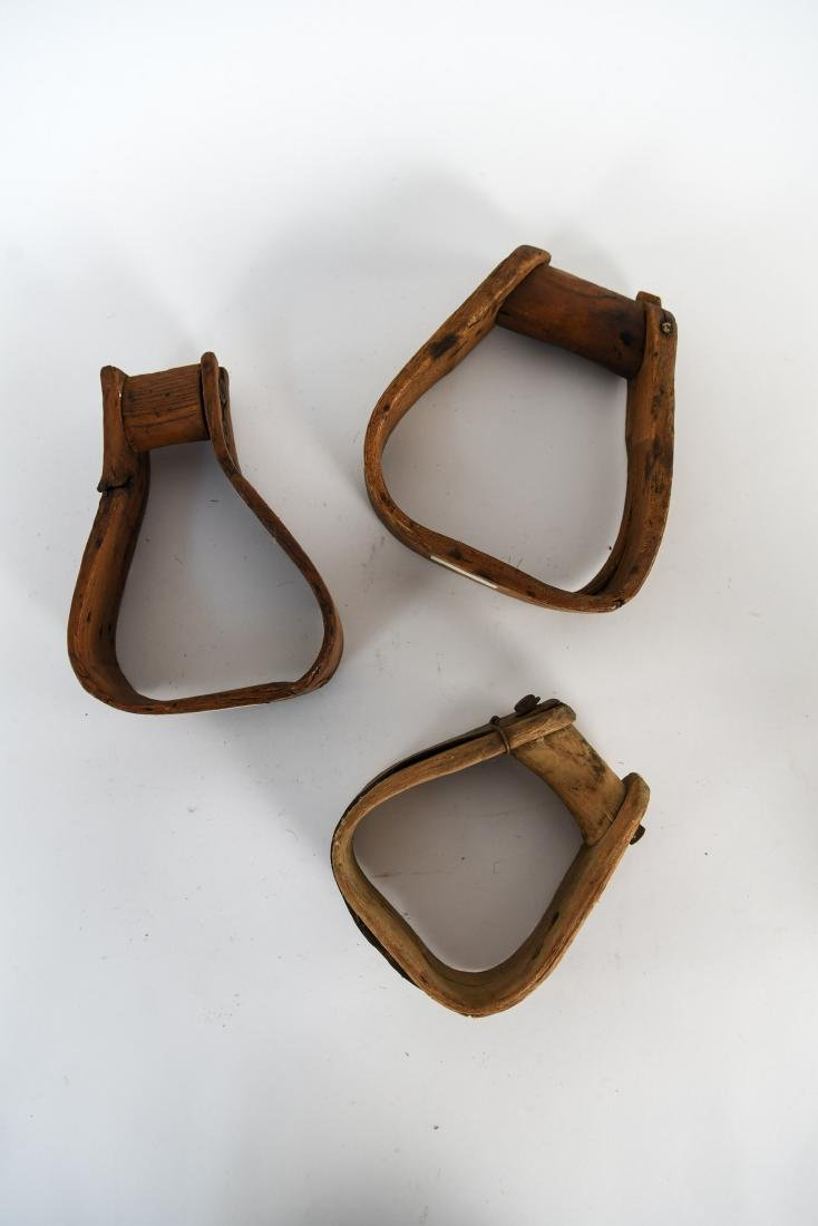 GROUPING OF ANTIQUE AND VINTAGE WOODEN STIRRUPS - 8