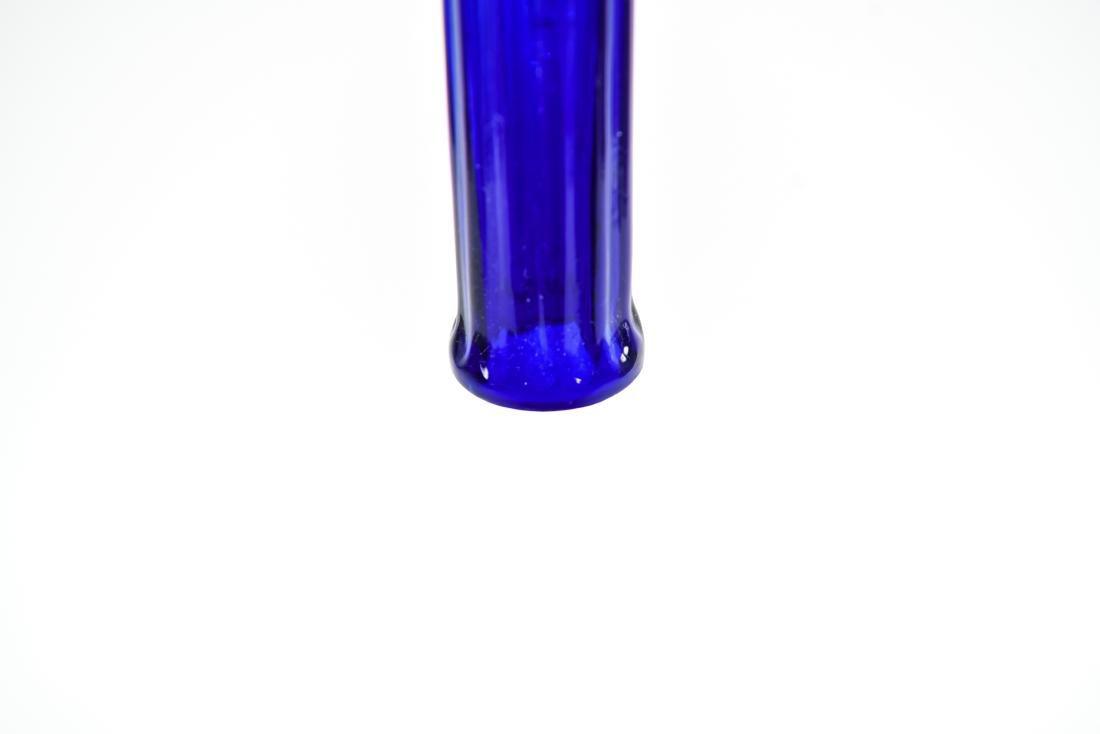 PAIR OF BLUE FLUTED GLASS PILLAR PENDANTS - 7
