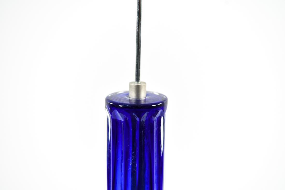 PAIR OF BLUE FLUTED GLASS PILLAR PENDANTS - 9