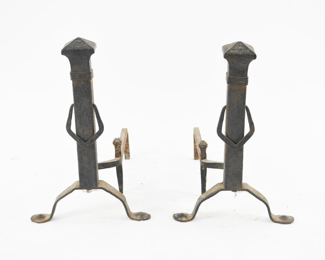 PAIR OF ARTS & CRAFTS HAMMERED IRON ANDIRONS