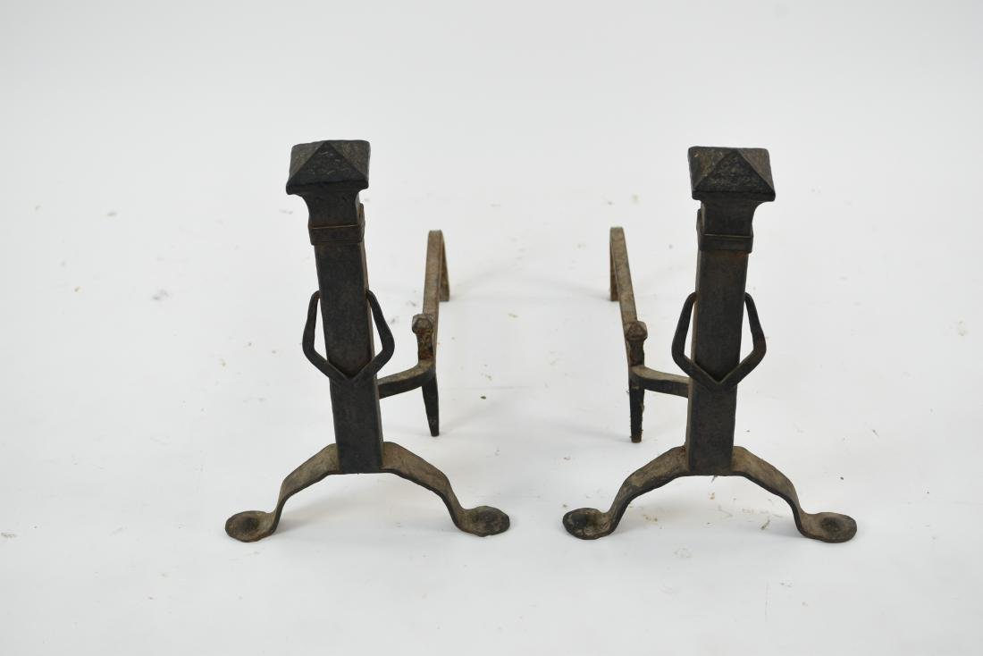 PAIR OF ARTS & CRAFTS HAMMERED IRON ANDIRONS - 2