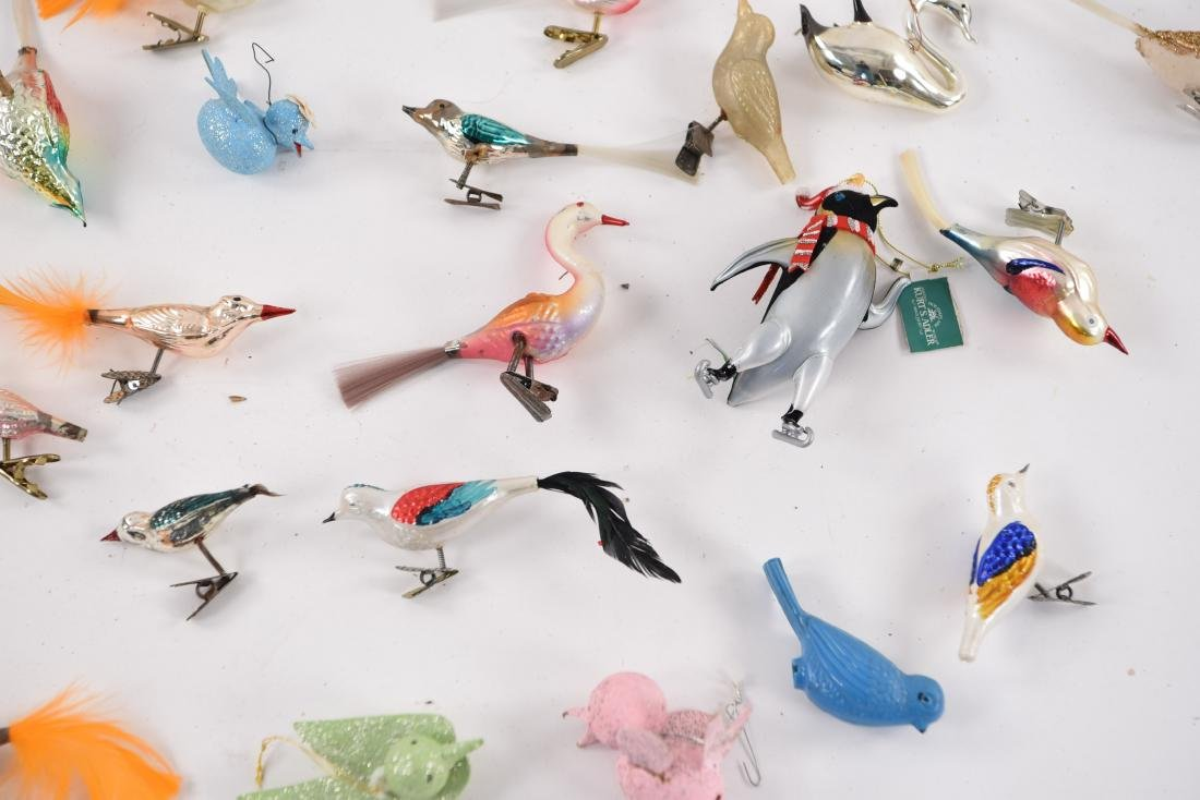 GROUPING OF VINTAGE BIRD CHRISTMAS ORNAMENTS - 6