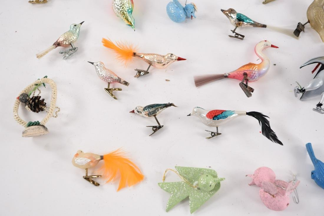 GROUPING OF VINTAGE BIRD CHRISTMAS ORNAMENTS - 8