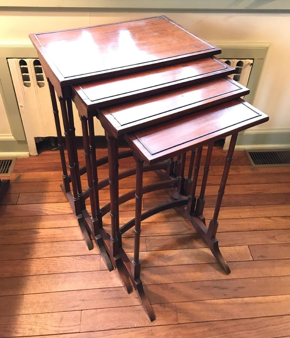 MAHOGANY NESTING TABLES - 2