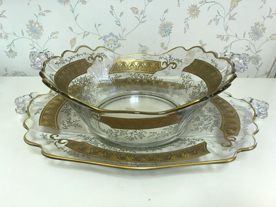GOLD DECORATED GLASS SERVING BOWL & UNDERPLATE