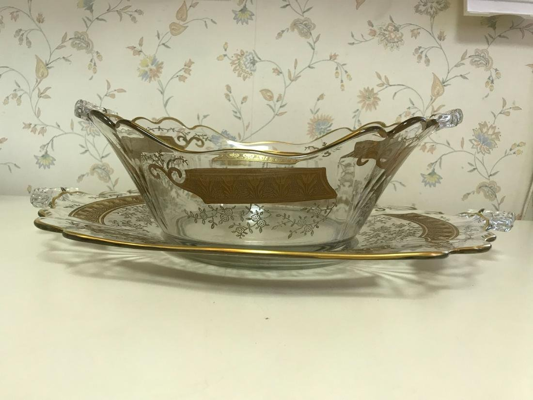 GOLD DECORATED GLASS SERVING BOWL & UNDERPLATE - 2