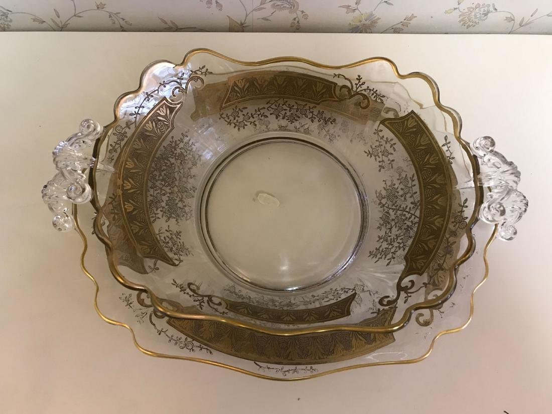 GOLD DECORATED GLASS SERVING BOWL & UNDERPLATE - 3