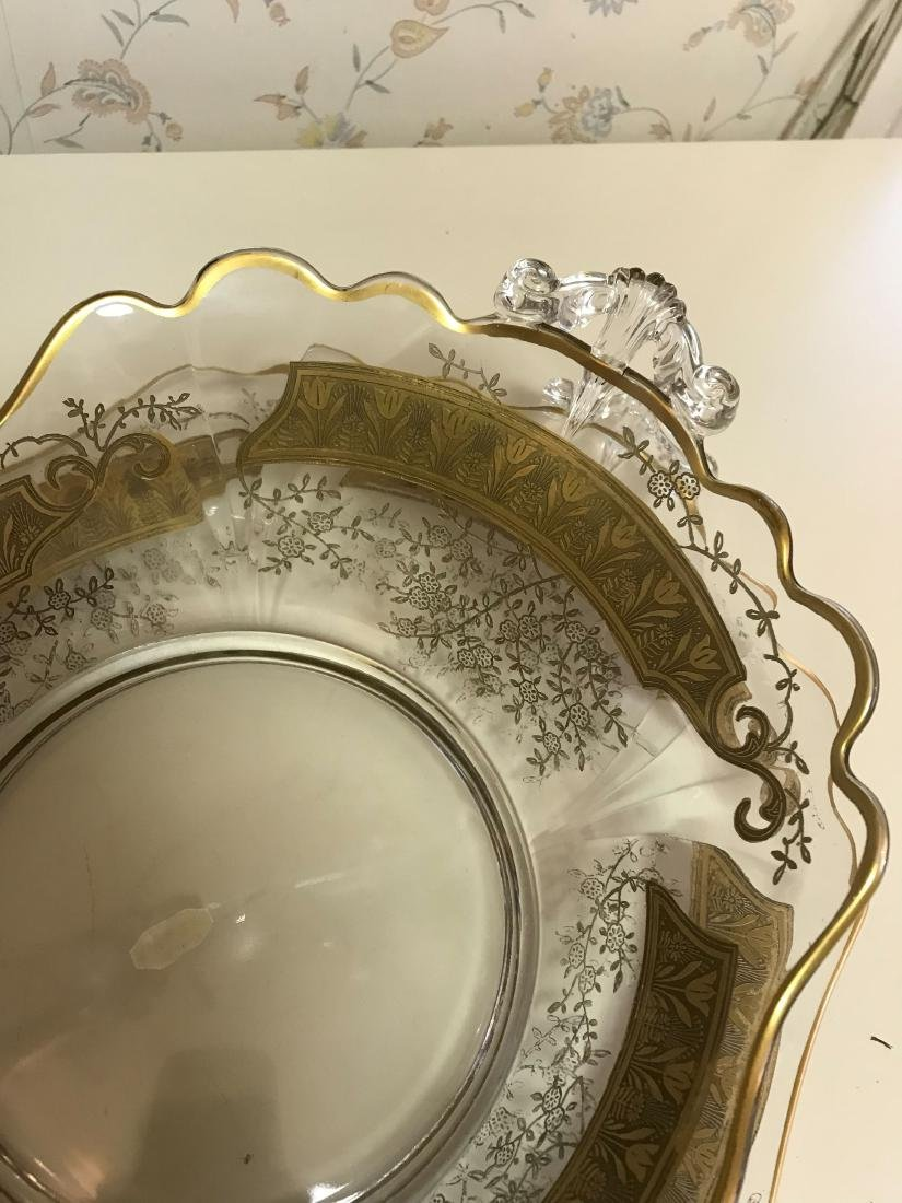 GOLD DECORATED GLASS SERVING BOWL & UNDERPLATE - 4