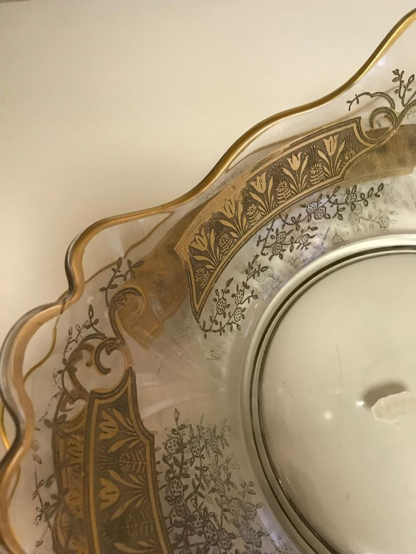 GOLD DECORATED GLASS SERVING BOWL & UNDERPLATE - 5