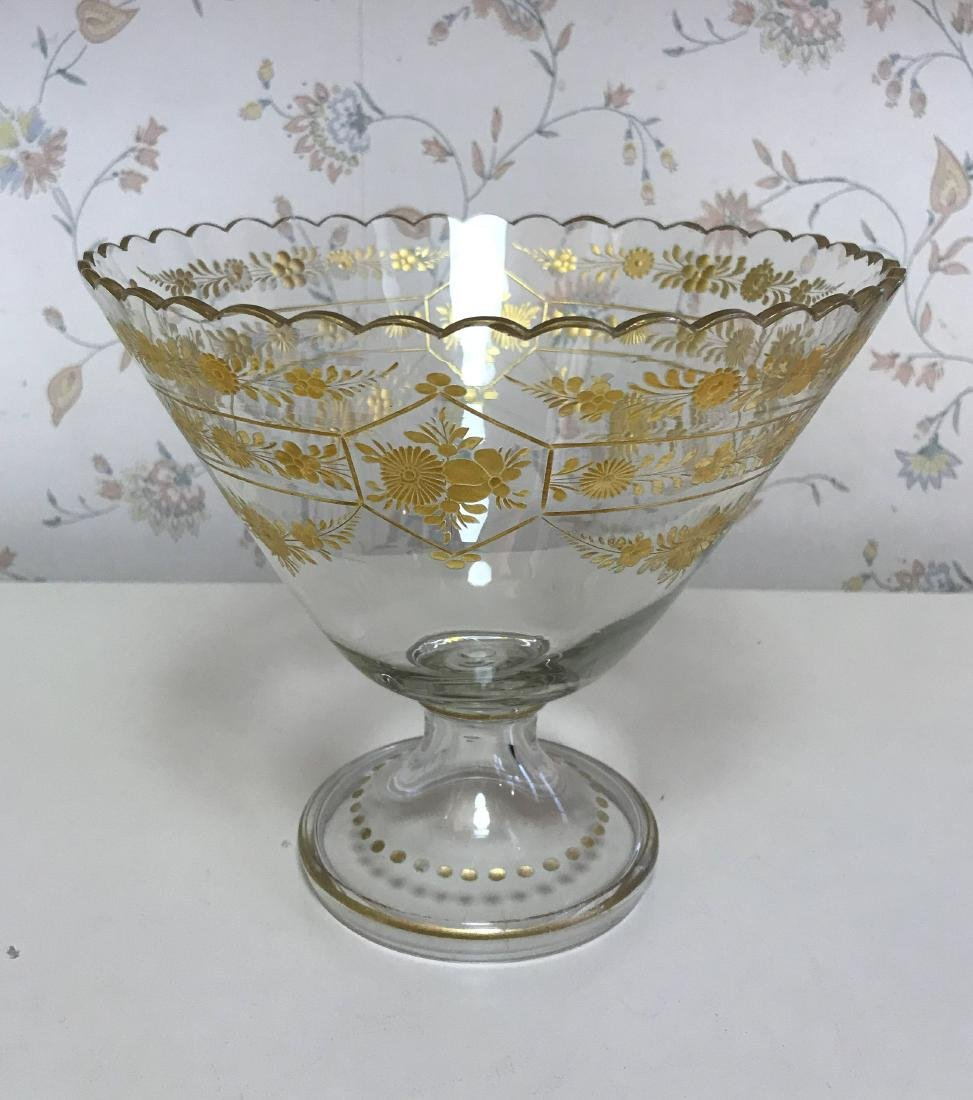 GOLD DECORATED GLASS COMPOTE