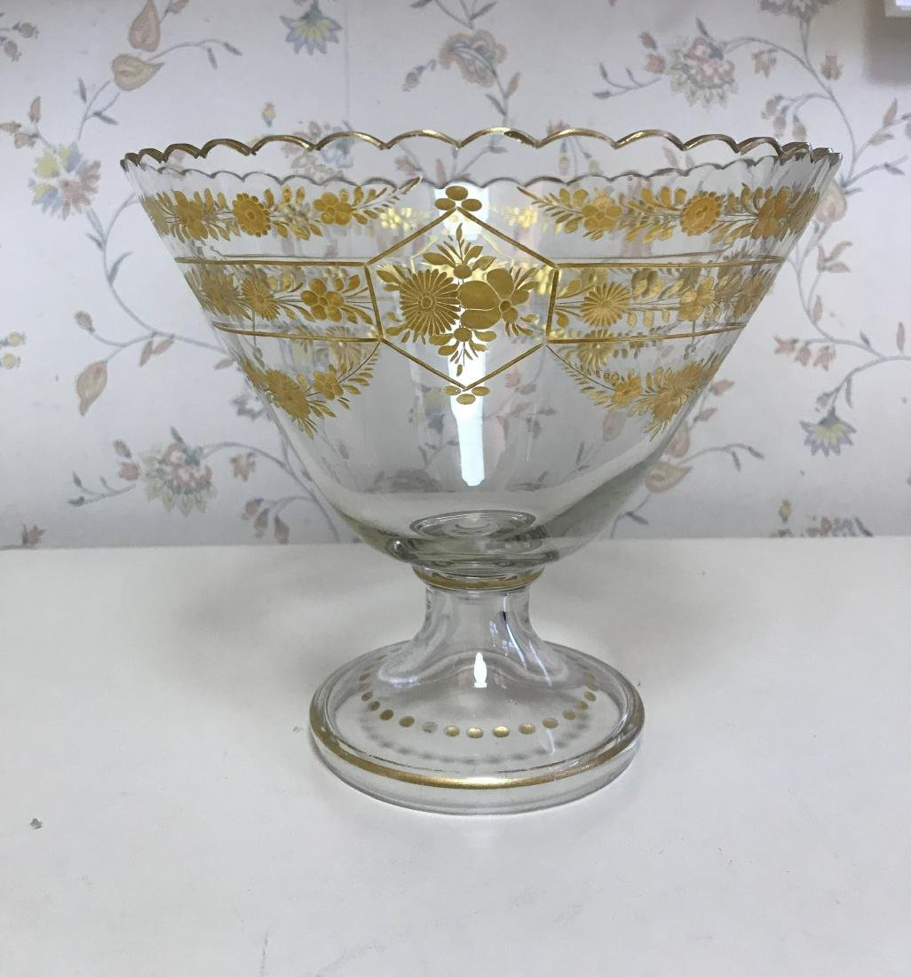 GOLD DECORATED GLASS COMPOTE - 2