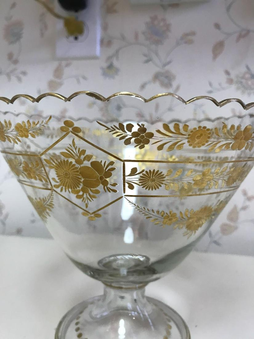 GOLD DECORATED GLASS COMPOTE - 3