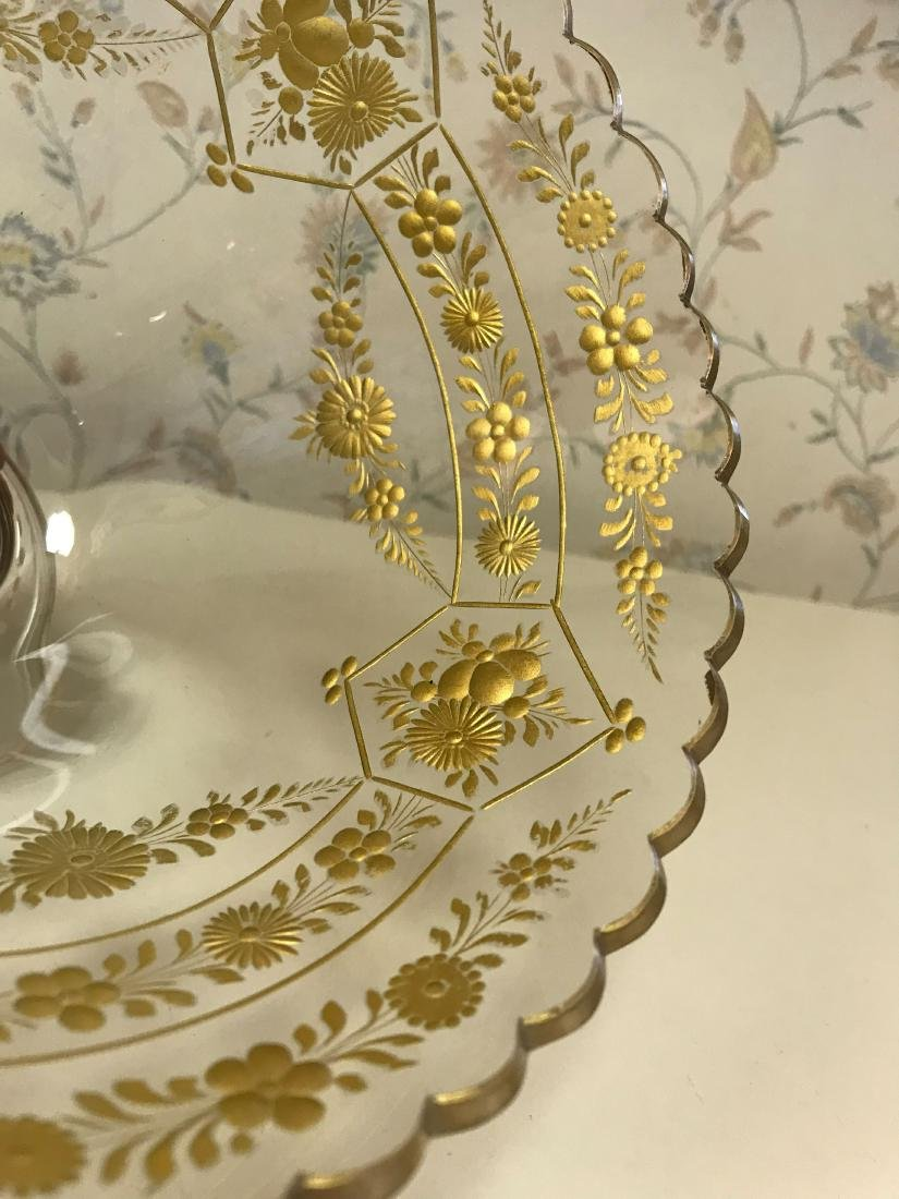 GOLD DECORATED GLASS COMPOTE - 6