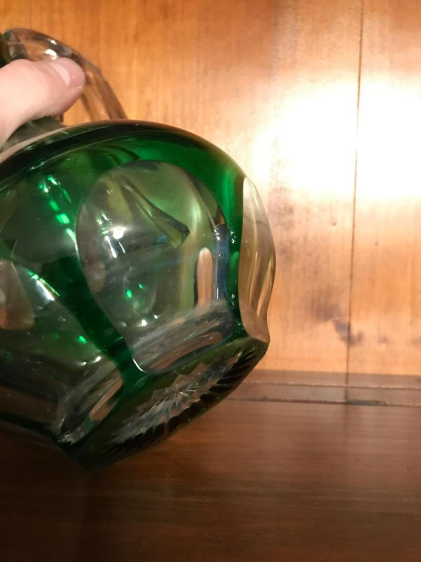 CUT GREEN TO CLEAR GLASS DECANTER - 4