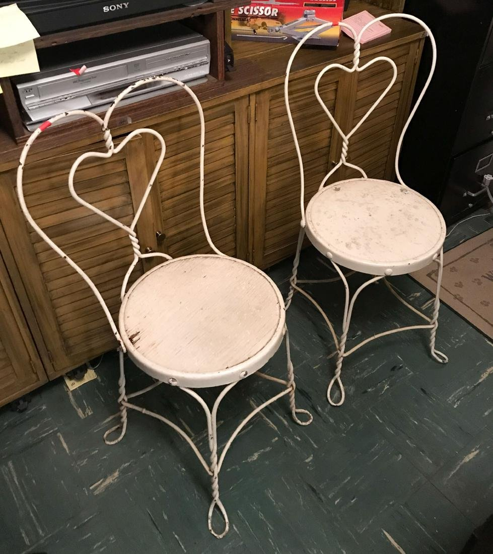 PAIR OF WROUGHT IRON ICE CREAM PARLOR CHAIRS