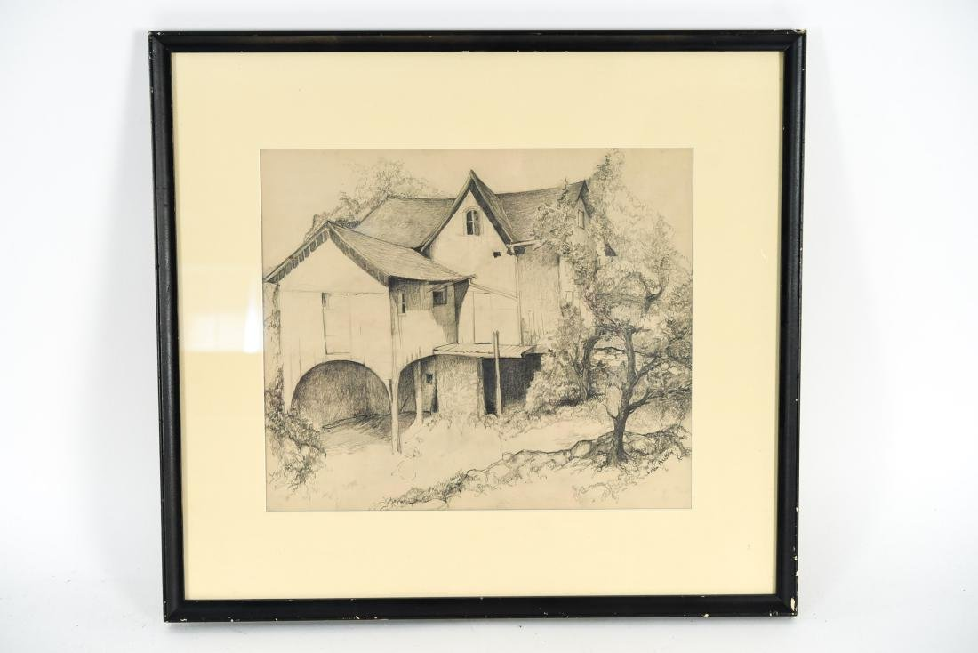 DRAWING OF A BARN, SIGNED LILLIAN AUSTIN
