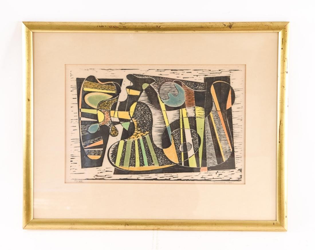 MODERNIST ABSTRACT COLOR WOODCUT