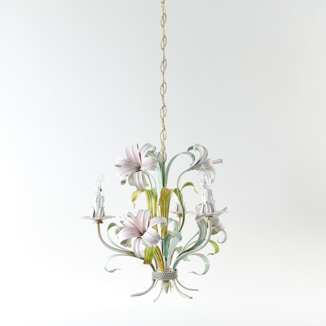 ITALIAN TOLE PAINTED LILY FLOWER CHANDELIER - 2
