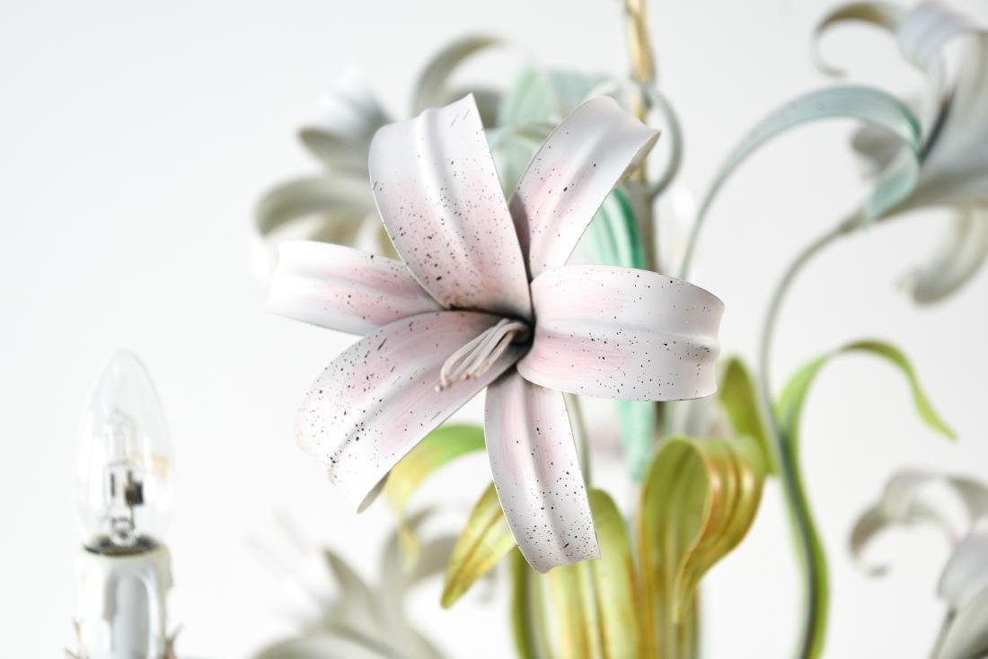 ITALIAN TOLE PAINTED LILY FLOWER CHANDELIER - 3