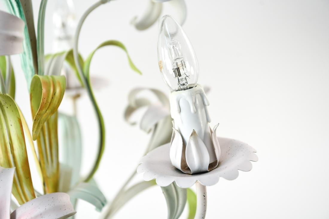 ITALIAN TOLE PAINTED LILY FLOWER CHANDELIER - 6